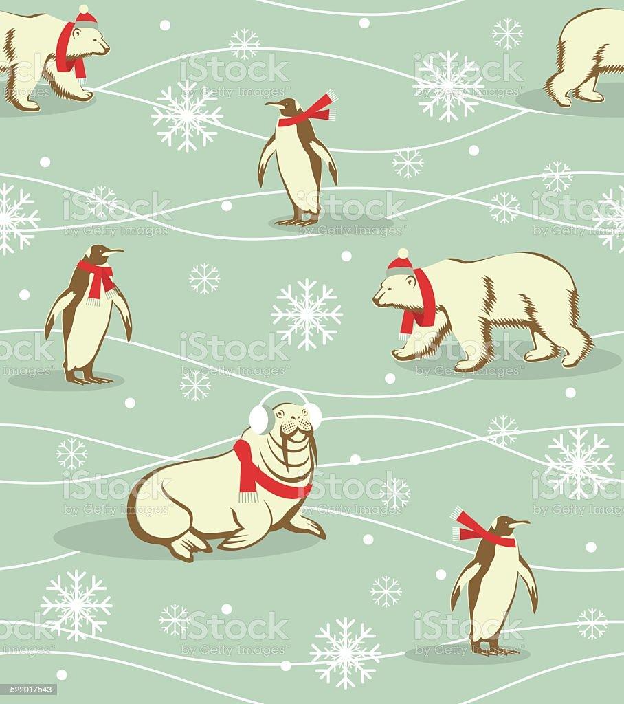 冬の動物のパターン のイラスト素材 522017543   istock