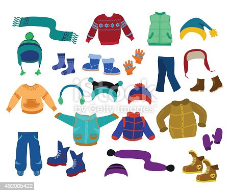 istock Winter apparel collection for boys - vector illustration. 492005422