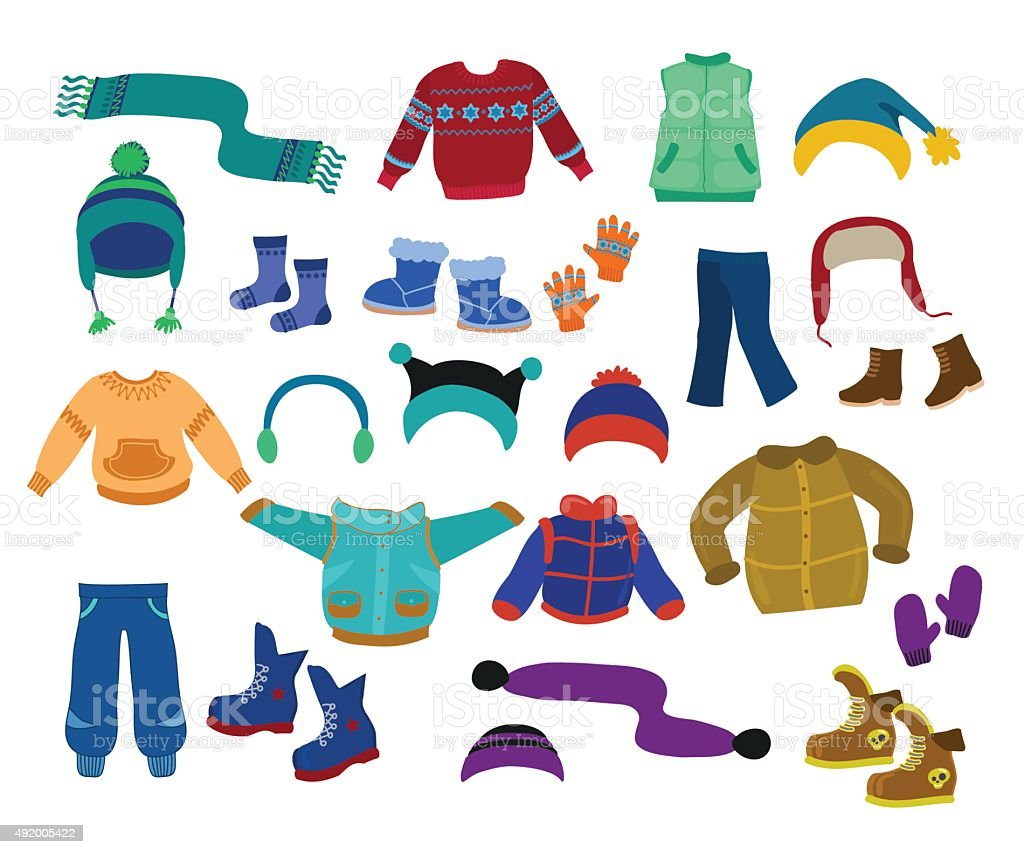 royalty free winter clothes clip art vector images illustrations rh istockphoto com winter clothes clipart winter gear clipart