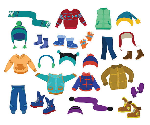 Winter apparel collection for boys - vector illustration. Winter apparel collection for boys - vector illustration. mitten stock illustrations