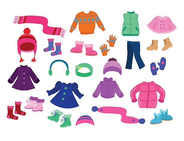 winter apparel kollektion für mädchen-vektor-illustration. - kinderstiefel stock-grafiken, -clipart, -cartoons und -symbole
