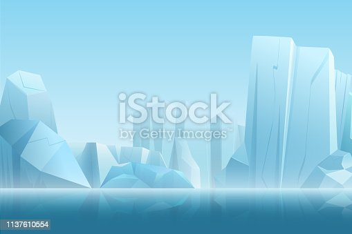 Winter arctic landscape with iceberg in dark blue pure water and snow mountains hills in soft white fog vector illustration
