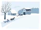 On the farm in deep winter. Father is unloading the christmas tree and a neighbor is passing by with its horse carriage...