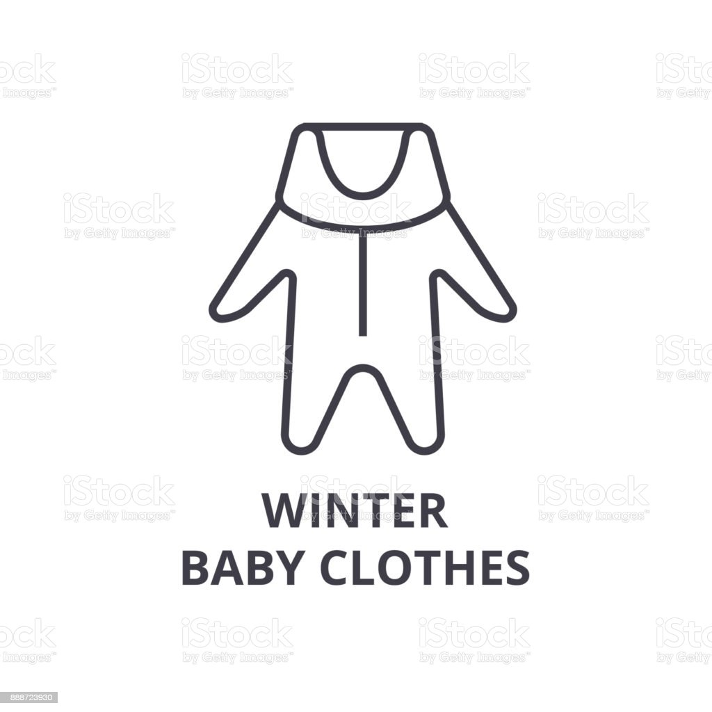 winter baby clothes line icon, outline sign, linear symbol, vector, flat illustration vector art illustration