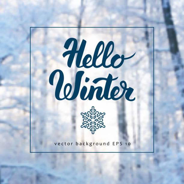 winter background and calligraphy - schneeflocke sonnenaufgang stock-grafiken, -clipart, -cartoons und -symbole