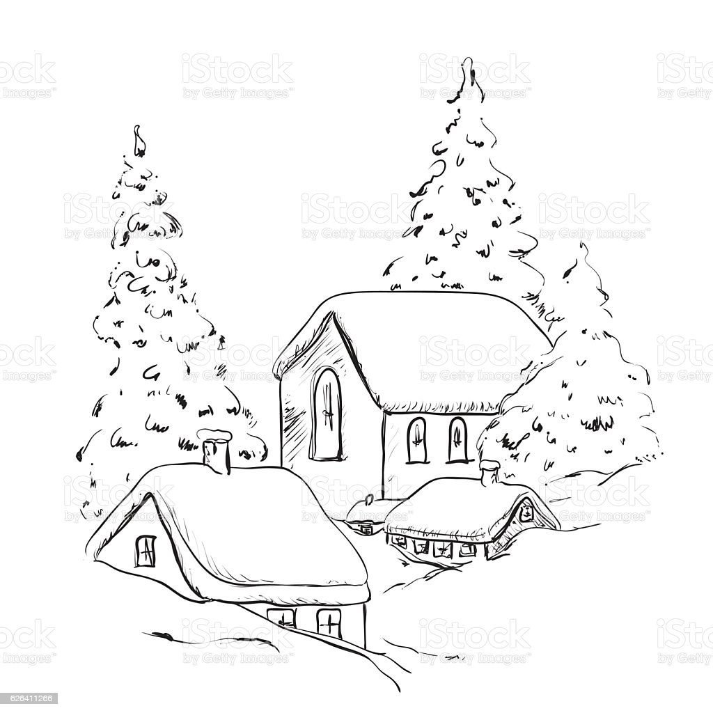 Christmas house with snow art - Winter Background House And Tree In The Snow Landscape Royalty Free Stock Vector Art
