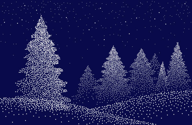 illustrazioni stock, clip art, cartoni animati e icone di tendenza di winter background landscape with fir trees and pines in snow - puntinismo