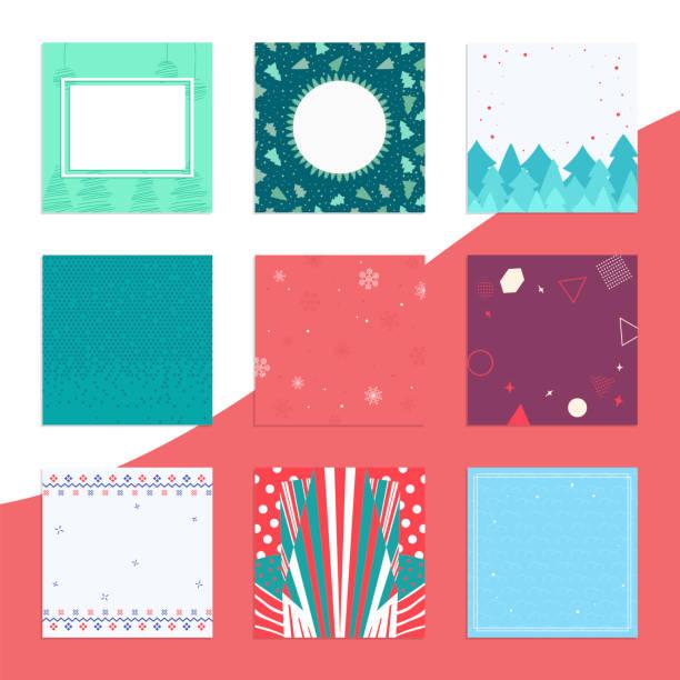ilustraciones, imágenes clip art, dibujos animados e iconos de stock de paquete de fondo de invierno conjunto de estandartes decorativos - fondos de franela