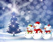 Winter Scene with Snowmen