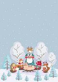 Christmas background with the image of cute woodland animals
