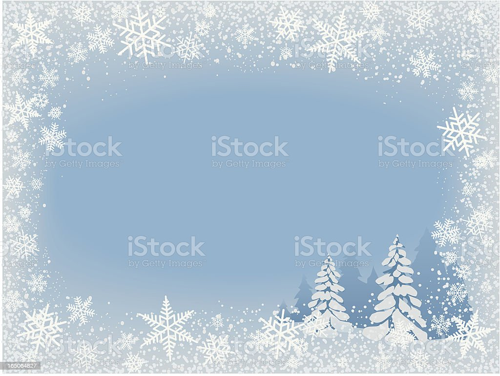 Winter background with big snow flakes vector art illustration