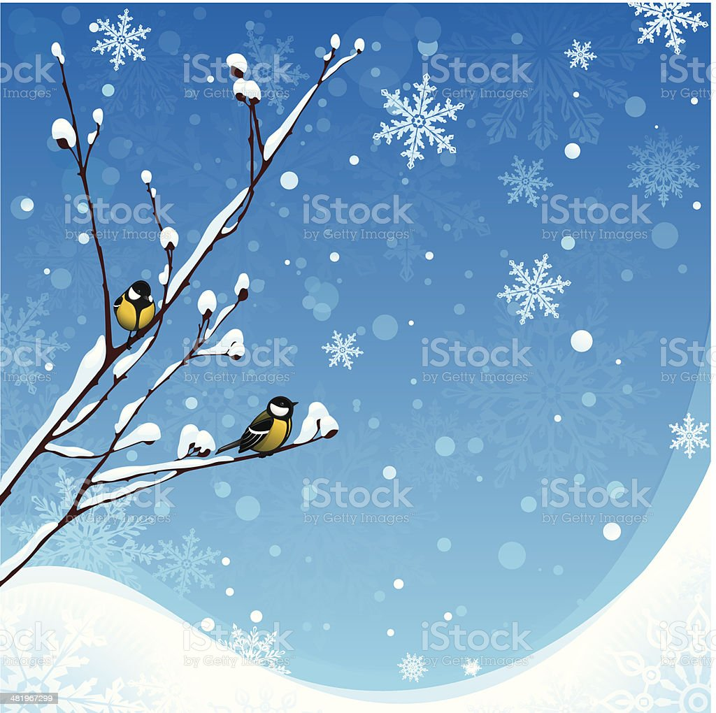 Winter background with birds vector art illustration