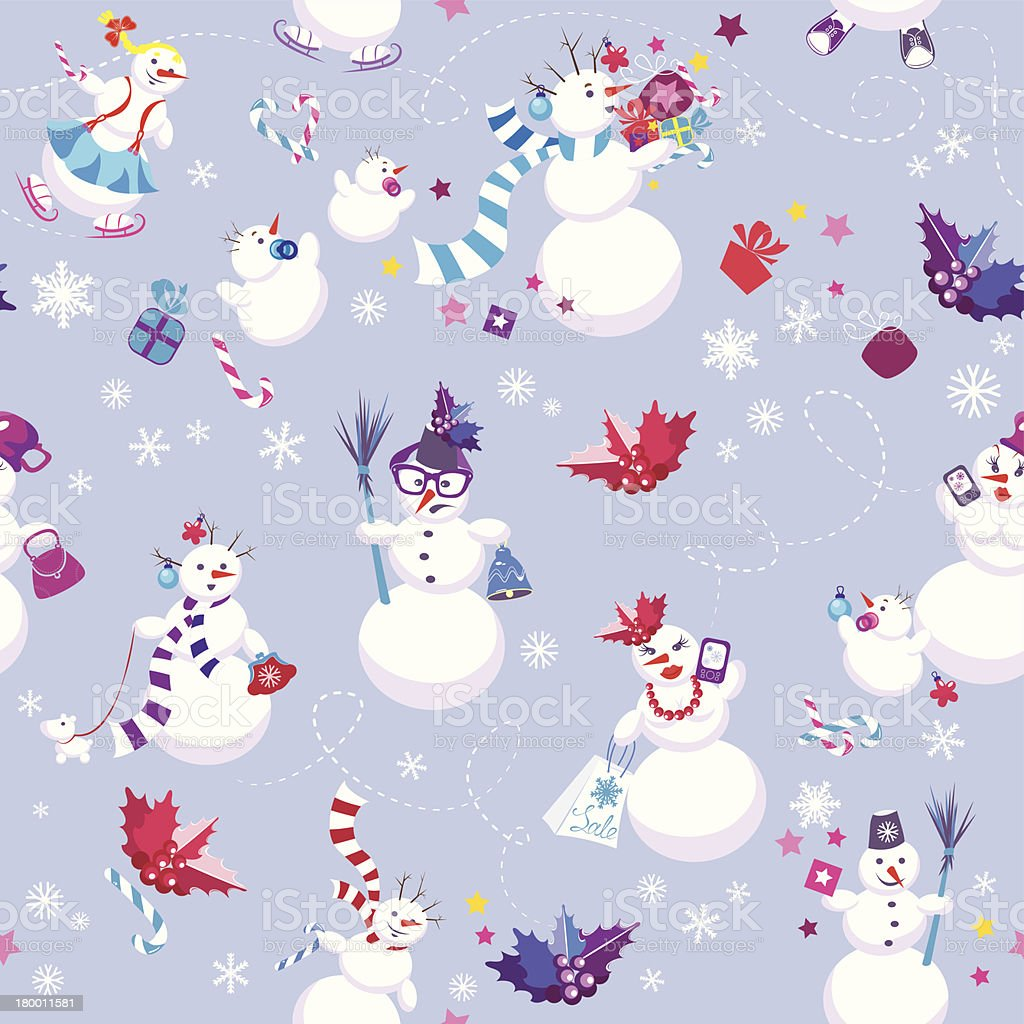Winter background with cute snowmen. Seamless pattern for Christmas royalty-free stock vector art