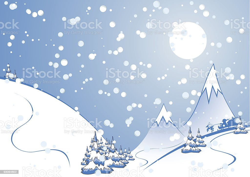 winter background with firtree silhouettes and Santa Claus royalty-free winter background with firtree silhouettes and santa claus stock vector art & more images of blue