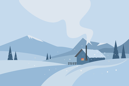 Winter background with mountains, pine trees and a house