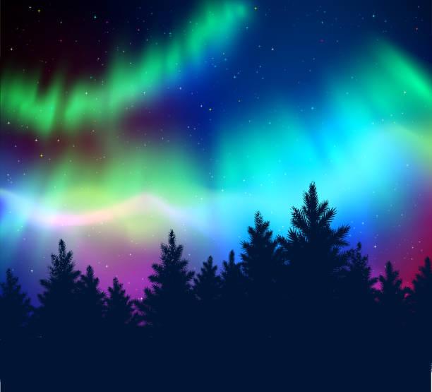 illustrazioni stock, clip art, cartoni animati e icone di tendenza di winter background with northern lights - aurora boreale