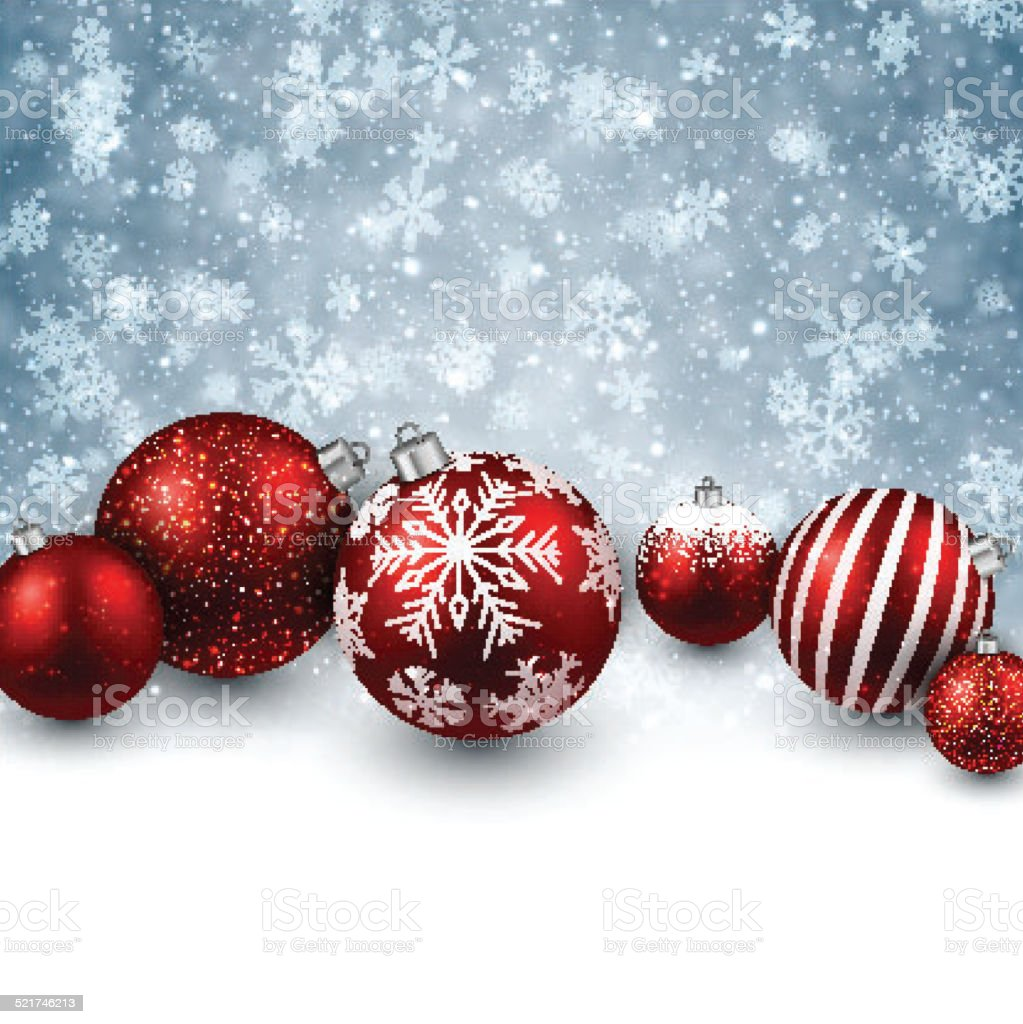 Winter background with red christmas balls. vector art illustration