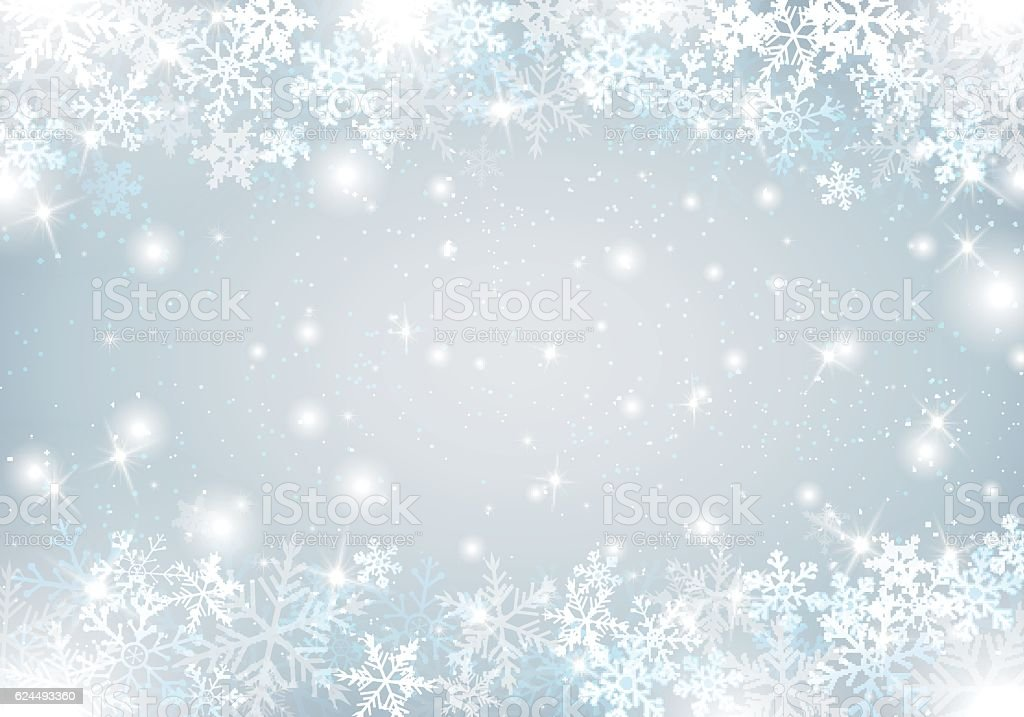Winter background with snow and snowflakes vector art illustration
