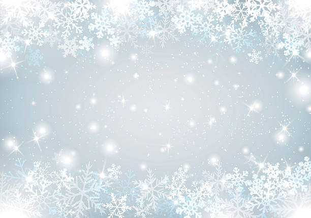 winter background with snow and snowflakes - holiday backgrounds stock illustrations, clip art, cartoons, & icons