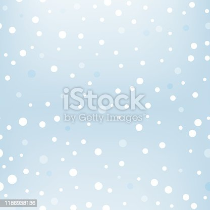 Winter background with snowfall. Blue blurred soft wallpaper with snow. Falling snow at day pattern. Vector illustration.