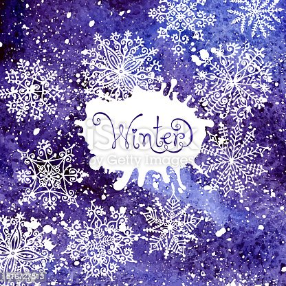 istock Winter background with snowflakes. Painting. Watercolor splash. 516727513