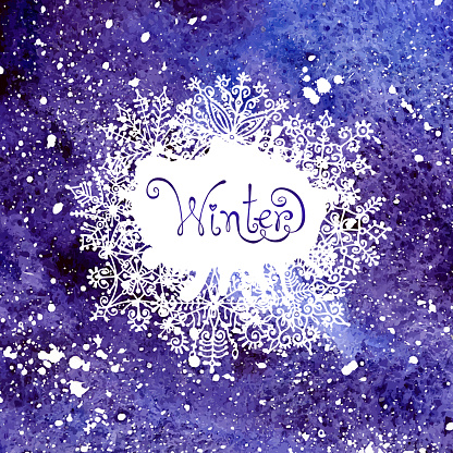 605740894 istock photo Winter background with snowflakes. Painting. Watercolor splash. 518484657
