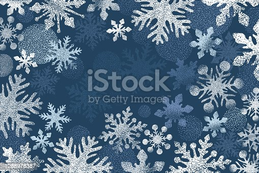 istock Winter background with snowflakes 1288978387
