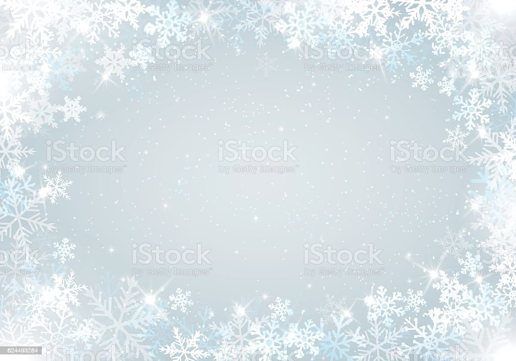 Winter background with snowflakes vector art illustration