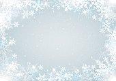 冬の背景に雪の結晶