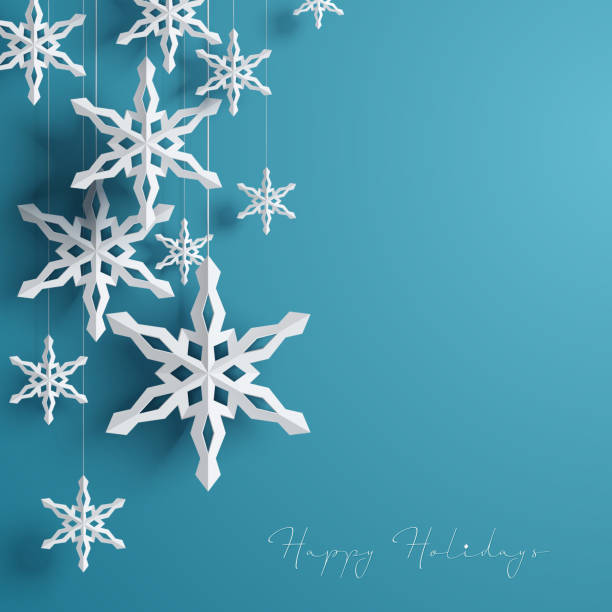 Winter Background with Snowflakes Paper 3d hanging Snowflake paper craft stock illustrations