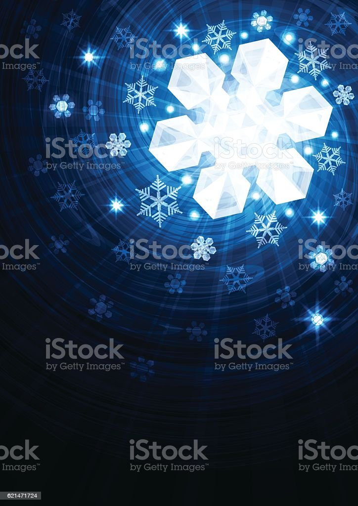 Winter background with stars and snowflakes vector art illustration