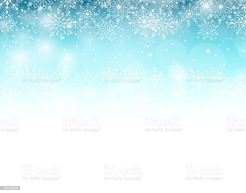Winter Background With Various Cold Blue Snowflakes