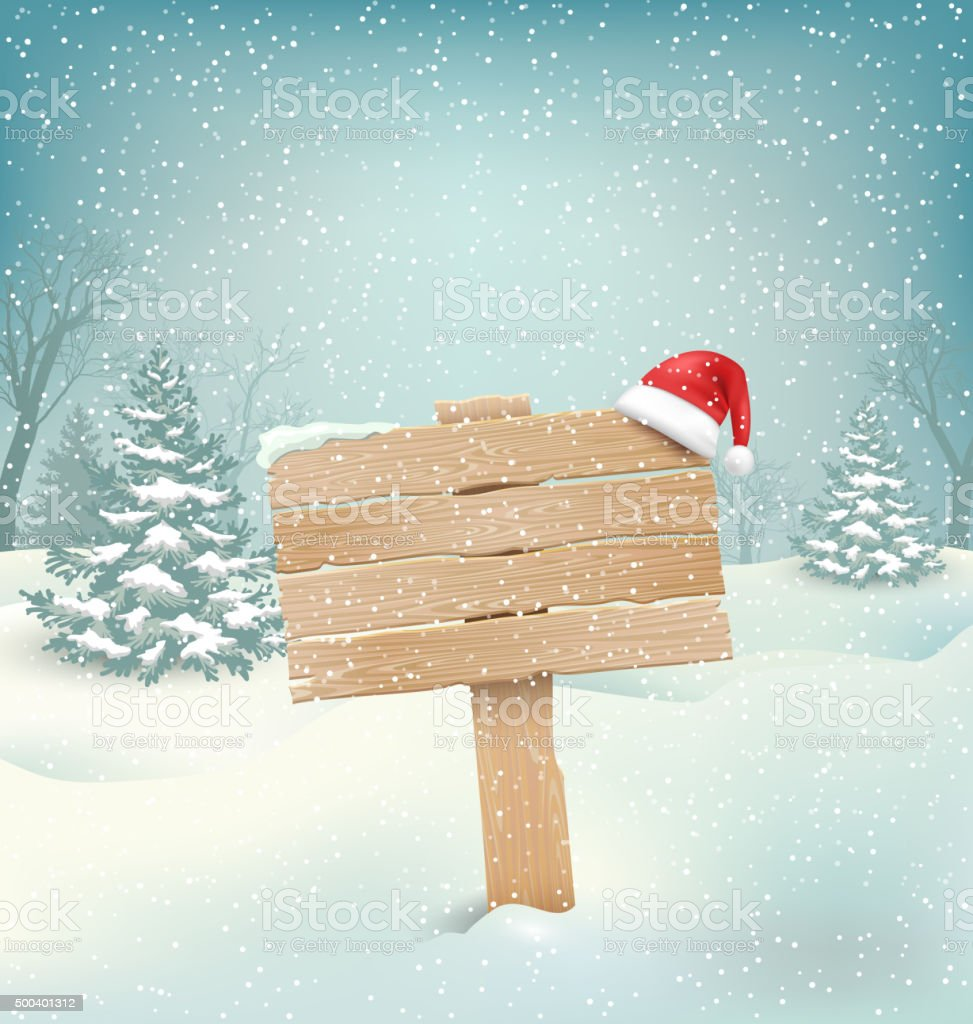 Winter Background with Wooden Signpost and Santa Hat vector art illustration