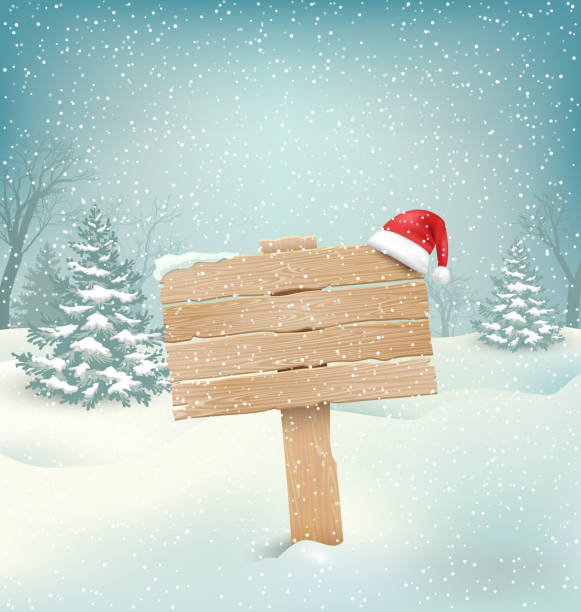 Winter Background with Wooden Signpost and Santa Hat Winter Christmas Background with Wooden Signpost and Santa Hat north pole stock illustrations