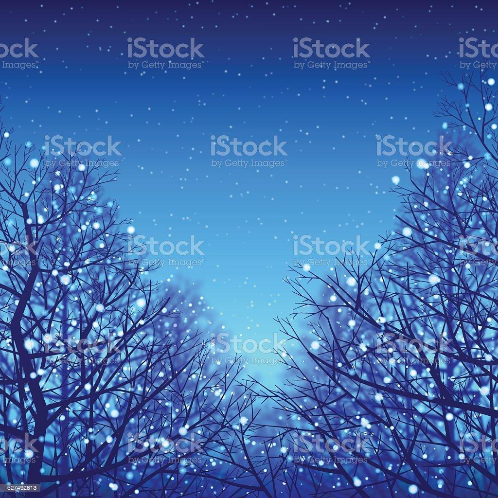 Winter background[Blue illumination and Deciduous trees] vector art illustration