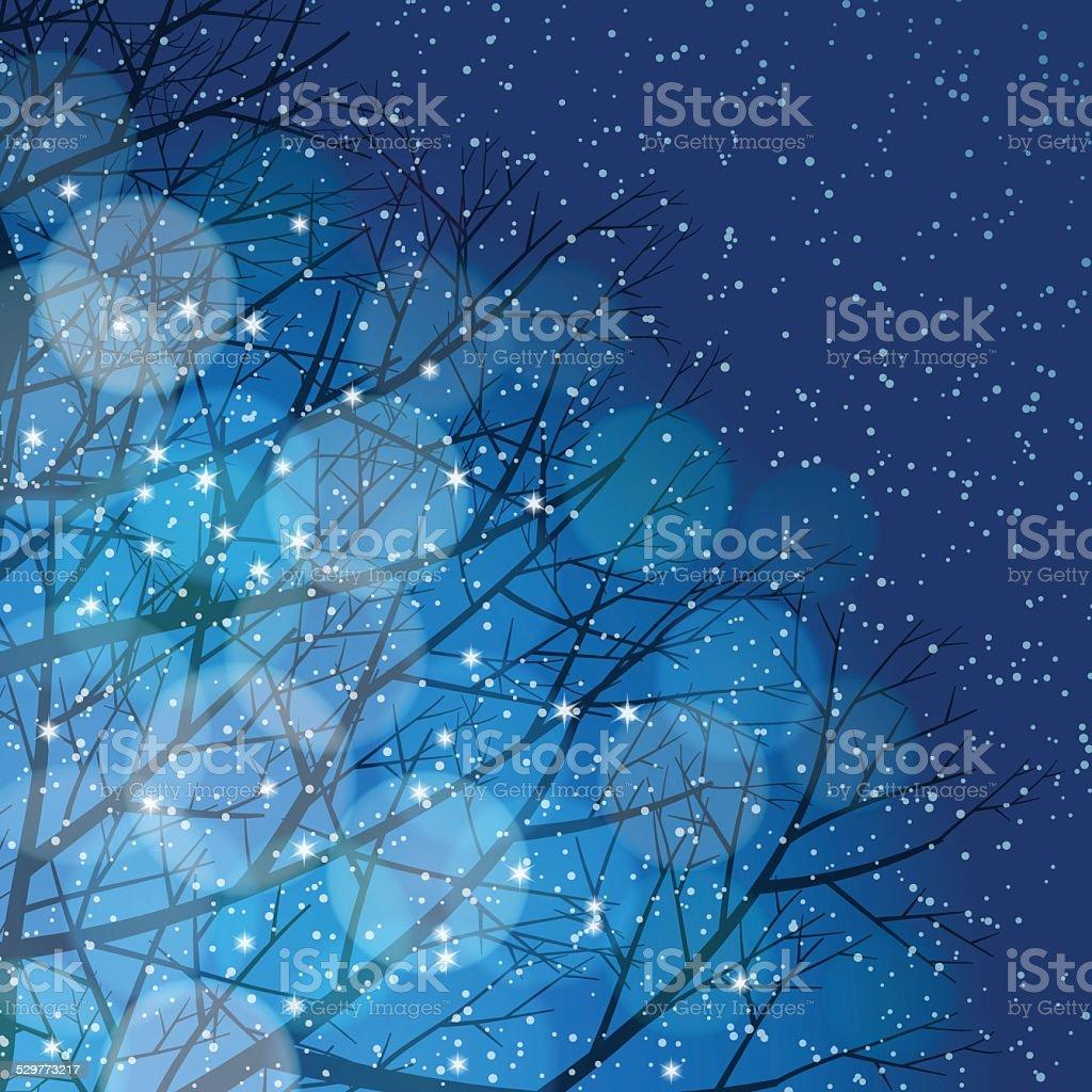 Winter background[Illumination and snow] vector art illustration