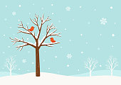 Winter,tree,bird,snow,holiday,Christmas,greeting,scene,snowflake,December,nature,design,background