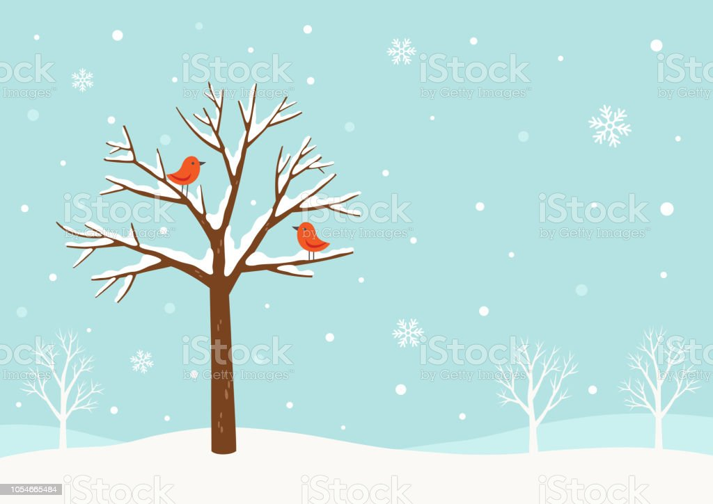 Winter background.Winter tree with cute red birds vector art illustration