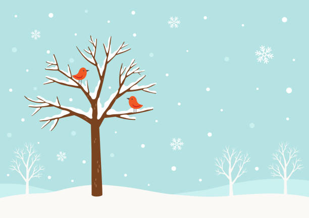 Winter background.Winter tree with cute red birds Winter,tree,bird,snow,holiday,Christmas,greeting,scene,snowflake,December,nature,design,background holiday background stock illustrations