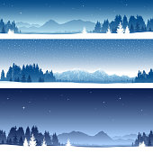 Winter banners. All elements are separate objects. File is layered, global colors used and hi res jpeg included. Only simple gradient used, No flattened transparency. Please take a look at other work of mine linked below.