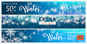Winter banner set. Colorful sale background design with christmas snow and snowflake, garland, season type lettering text sign 50 percent, 20 Off. Advertising offer. Vector illustration