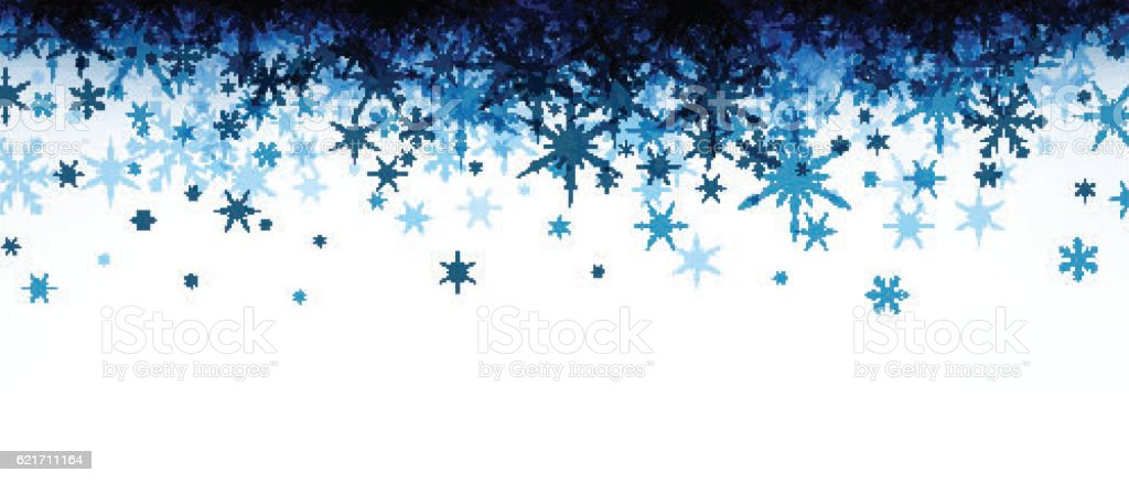 Winter Banner With Blue Snowflakes stock vector art ...