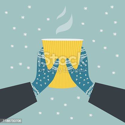 Two hands holding a cup of hot drink. Winter cozy illustration. Knitted winter gloves on snowy background.  Colorful vector flat cartoon illustration. Digitally hand drawn.