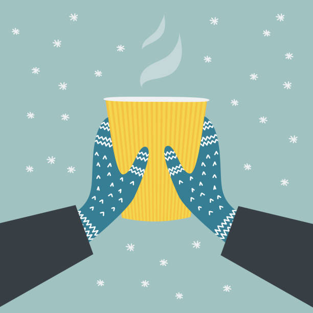 Winter banner with hot drink Two hands holding a cup of hot drink. Winter cozy illustration. Knitted winter gloves on snowy background.  Colorful vector flat cartoon illustration. Digitally hand drawn. mitten stock illustrations