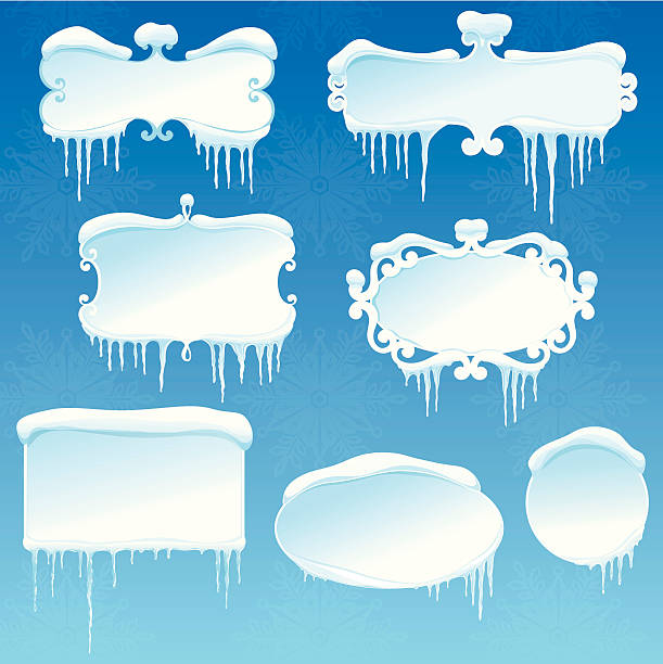 Winter banners collection with snow and icicles vector art illustration