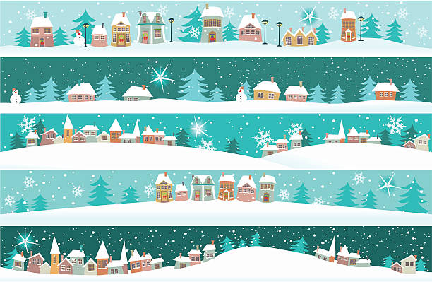 Winter banners with cartoon houses Five winter banners with small houses - cartoon holiday background. village stock illustrations