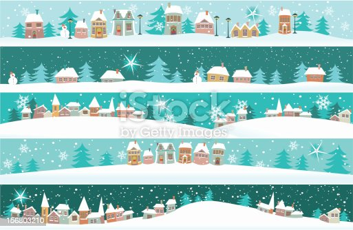 Winter Banners With Cartoon Houses Stock Vector Art & More ...