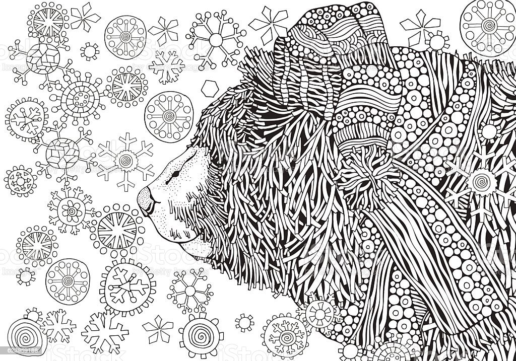 Winter Bear Snowing Coloring Book Page For Adult Royalty Free