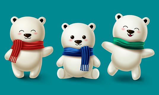 Winter bears character vector set. Teddy bear or polar bear 3d cartoon characters collection wearing scarf