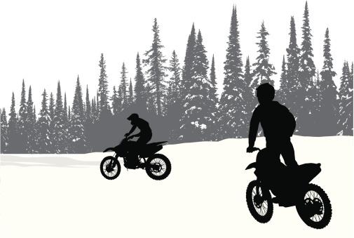 Winter Biking Vector Silhouette